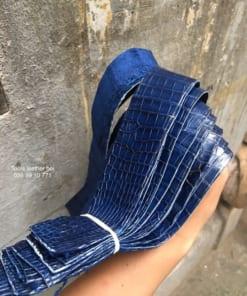 Phôi dây lưng da cá sấu xuất Âu ( màu navy )