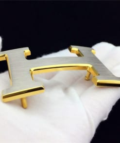 Mặt dây lưng chữ H size 38cm (bạc viền vàng)